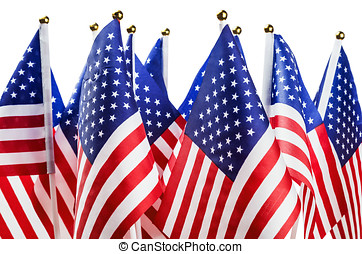 small American flags isolated on white background