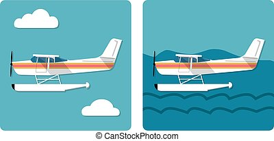 Cool flat design aviation amphibian plane landed on water and flying in the sky