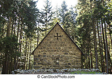Small ancient church in a forest, Georgia