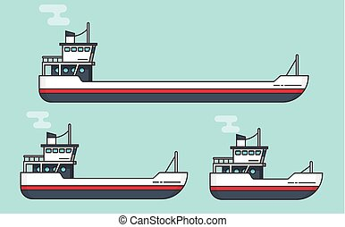 Small and big transport ships flat cartoon line outline, boats vector illustration set, empty freight vessel and small ferry or fishing boat isolated