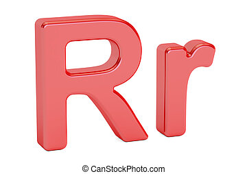 Small and large red letter R alphabet, 3D rendering