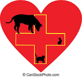 Small Animal Care Help Sign - In a heart is the medical care...