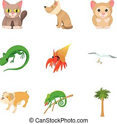 Small animal icons set, cartoon style