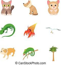 Small animal icons set, cartoon style