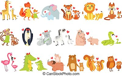 Small Animals And Their Moms Illustration Set. Colorful...