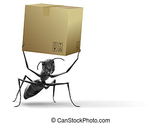 ant lifting cardboard box black insext white background isolated delivery shipping