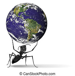 small ant lifting heavy blue earth - small ant lifting heavy...