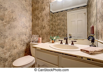 Small antique bathroom with toilet, vanity cabinet and mirror.