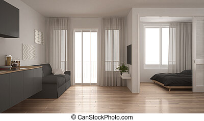 Small apartment with kitchen, living room and bedroom, white...