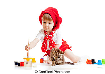 Small artist child painting with brush. Kitten sitting in front of girl