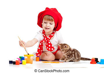 small artist child painting with kitten