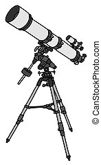 Small astronomic telescope - Hand drawing of a small...