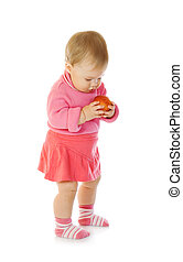 Small baby with apple #3 isolated