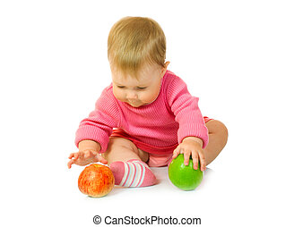 Small baby with apple #6 isolated