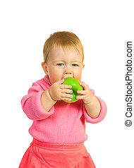 Small baby with apple #7 isolated on white