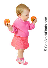 Small baby with apple isolated