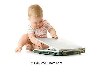Small baby with laptop
