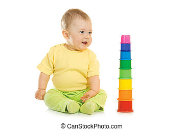 Small baby with toy pyramid #3 isolated