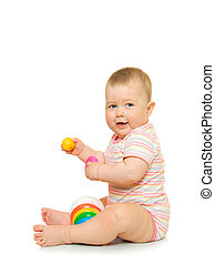Small baby with toy pyramid #5 isolated