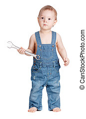 Small baby worker with spanner wrench