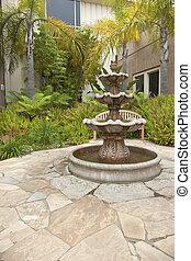 Small backyard garden fountain San Diego California.