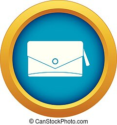 Small bag icon blue vector isolated