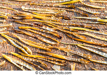 small bamboo shoots of the drying