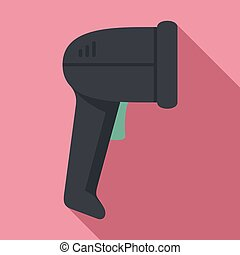 Small barcode scanner icon, flat style