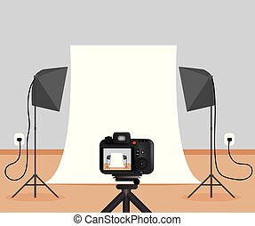 Small Basic Photo Studio with Lights and Camera