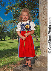 small Bavarian girl in a dirndl wit