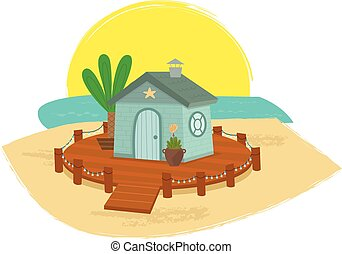 Beach House Illustrations And Clipart 3696 Beach House Royalty