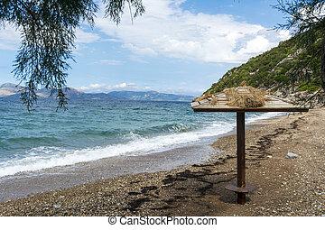 Little sesi beach. It is a small beach in Attica, Greece.