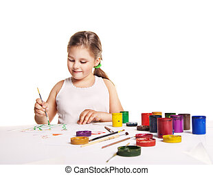 small beautiful girl paints on paper over white