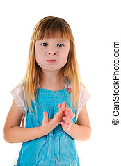 Small beauty chewing girl on white background