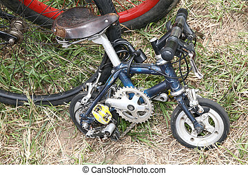 small bike on the grass