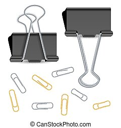 Small Binder Clips Vector Isolated On White. Realistic Paper Clip Set