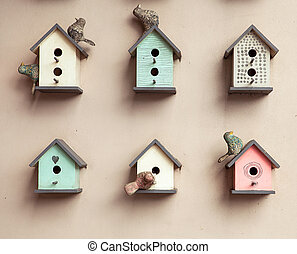 small birdhouses background