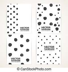 Small black circle of rough thick paint strokes texture banner set