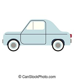 small blue car flat illustration on white