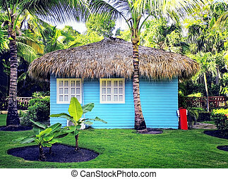 blue house - small blue house in the tropical resort