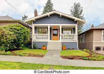 Small blue house with white porch exterior. - Small simple...