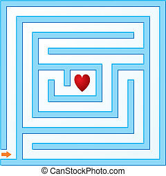 Small blue maze with heart