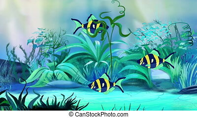 Small Blue-yellow aquarium fishes in a tank - Small...