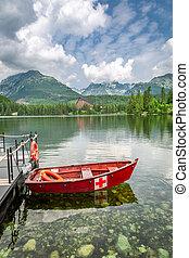 Small boat and mountain lake in Strbske Pleso in Slovakia