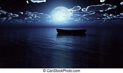 small boat full moon