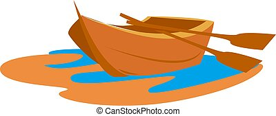 Small boat, illustration, vector on white background.