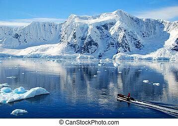 small boat in antarctica