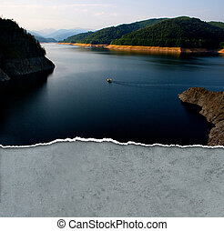 Small boat on a large lake