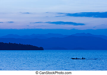 Small boat on the lake