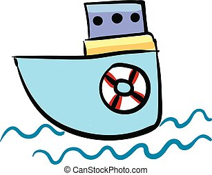 Small boat, vector or color illustration.